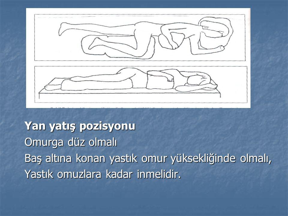 Yan yatış pozisyonu Omurga düz olmalı Baş altına konan yastık omur yüksekliğinde olmalı, Yastık omuzlara kadar inmelidir.
