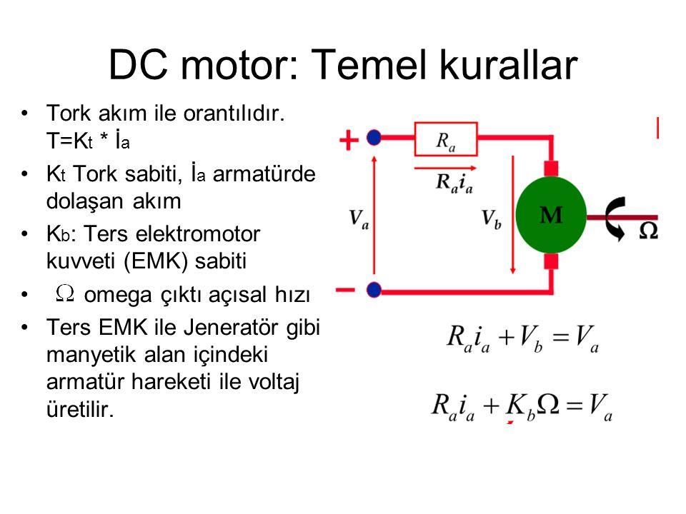 AC-DC motor karşılaştırması •Aynı gücün eldesi için kullanılacak bir AC motor maliyet bakımından daha ucuzdur.