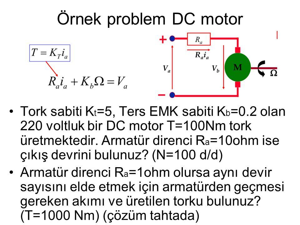 Örnek problem DC (shunt) motor •Şekilde V=220Volt luk bir DC shunt motorun devresi görülmektedir.