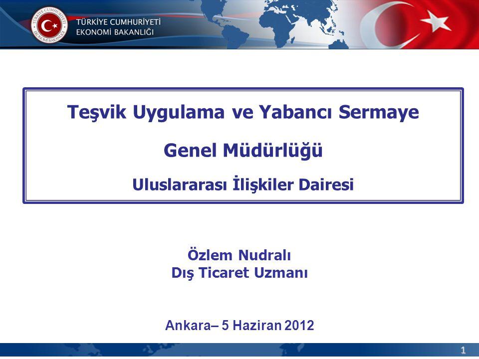 1 Teşvik Uygulama ve Yabancı Sermaye Genel Müdürlüğü Uluslararası İlişkiler Dairesi Ankara– 5 Haziran 2012 Özlem Nudralı Dış Ticaret Uzmanı