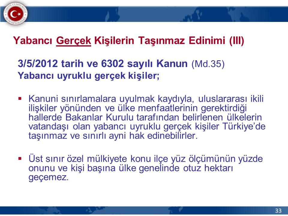 33 Yabancı Gerçek Kişilerin Taşınmaz Edinimi (III) 3/5/2012 tarih ve 6302 sayılı Kanun (Md.35) Yabancı uyruklu gerçek kişiler;  Kanuni sınırlamalara uyulmak kaydıyla, uluslararası ikili ilişkiler yönünden ve ülke menfaatlerinin gerektirdiği hallerde Bakanlar Kurulu tarafından belirlenen ülkelerin vatandaşı olan yabancı uyruklu gerçek kişiler Türkiye'de taşınmaz ve sınırlı ayni hak edinebilirler.