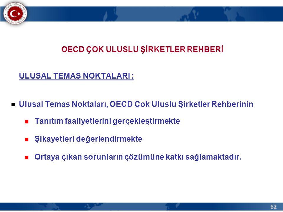 62 OECD ÇOK ULUSLU ŞİRKETLER REHBERİ ULUSAL TEMAS NOKTALARI :  Ulusal Temas Noktaları, OECD Çok Uluslu Şirketler Rehberinin  Tanıtım faaliyetlerini gerçekleştirmekte  Şikayetleri değerlendirmekte  Ortaya çıkan sorunların çözümüne katkı sağlamaktadır.