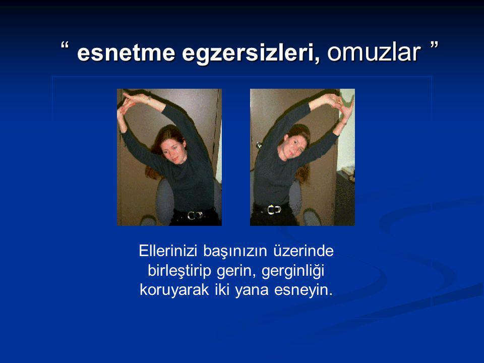 """"""" esnetme egzersizleri, omuzlar """" Ellerinizi başınızın üzerinde birleştirip gerin, gerginliği koruyarak iki yana esneyin."""