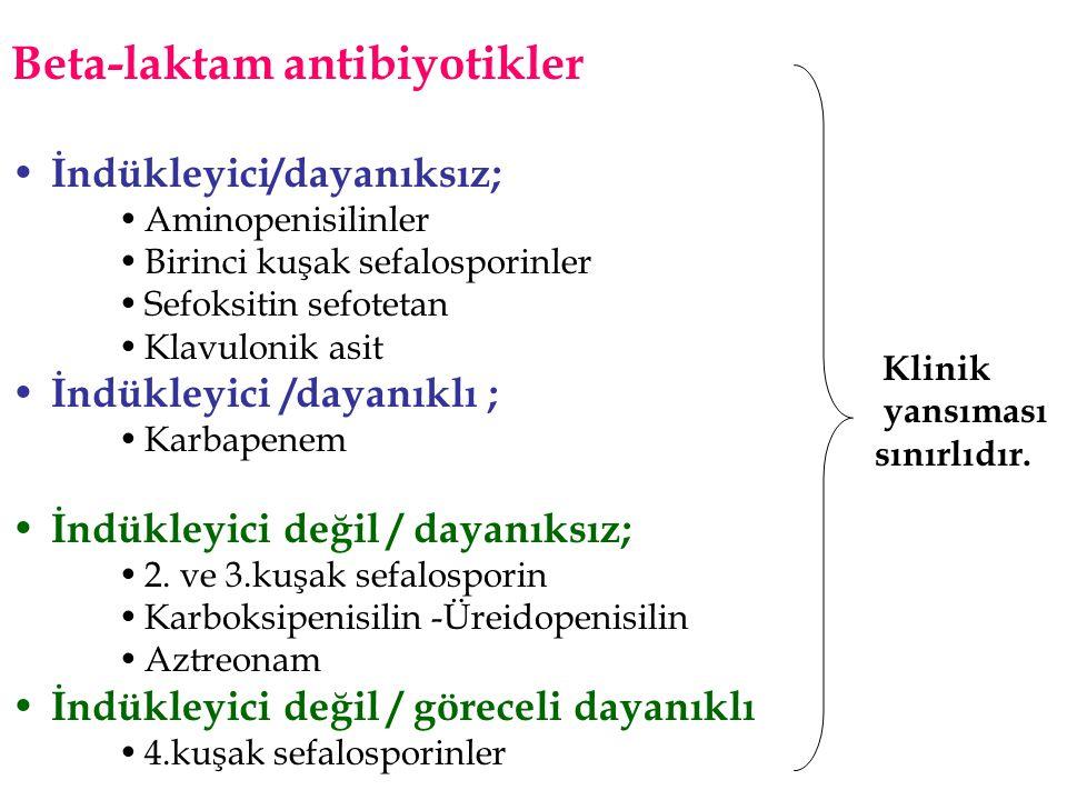 Beta-laktam antibiyotikler • İndükleyici/dayanıksız; •Aminopenisilinler •Birinci kuşak sefalosporinler •Sefoksitin sefotetan •Klavulonik asit • İndükl
