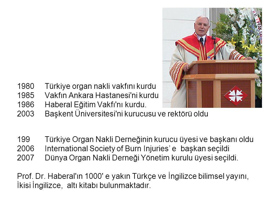 1980 Türkiye organ nakli vakfını kurdu 1985Vakfın Ankara Hastanesi'ni kurdu 1986Haberal Eğitim Vakfı'nı kurdu. 2003 Başkent Üniversitesi'ni kurucusu v