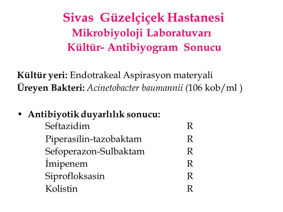 Sivas Güzelçiçek Hastanesi Mikrobiyoloji Laboratuvarı Kültür- Antibiyogram Sonucu Kültür yeri: Endotrakeal Aspirasyon materyali Üreyen Bakteri: Acinet