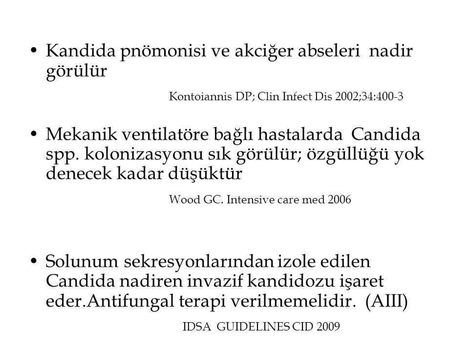 •Kandida pnömonisi ve akciğer abseleri nadir görülür Kontoiannis DP; Clin Infect Dis 2002;34:400-3 •Mekanik ventilatöre bağlı hastalarda Candida spp.