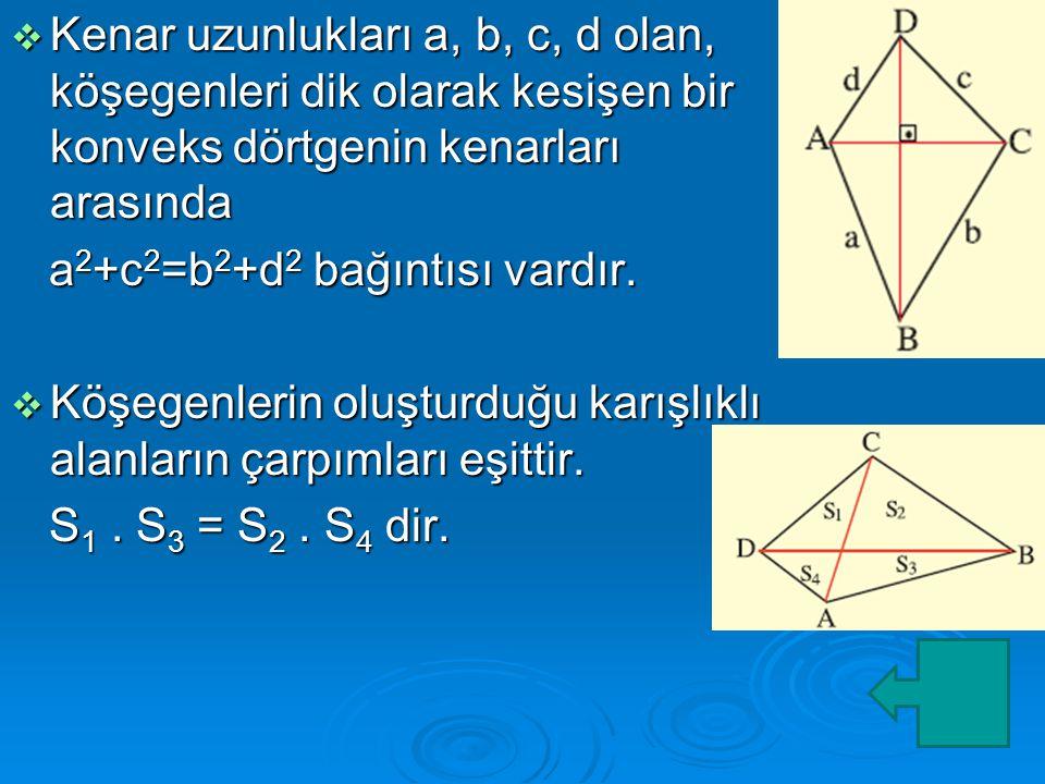  Kenar uzunlukları a, b, c, d olan, köşegenleri dik olarak kesişen bir konveks dörtgenin kenarları arasında a 2 +c 2 =b 2 +d 2 bağıntısı vardır.