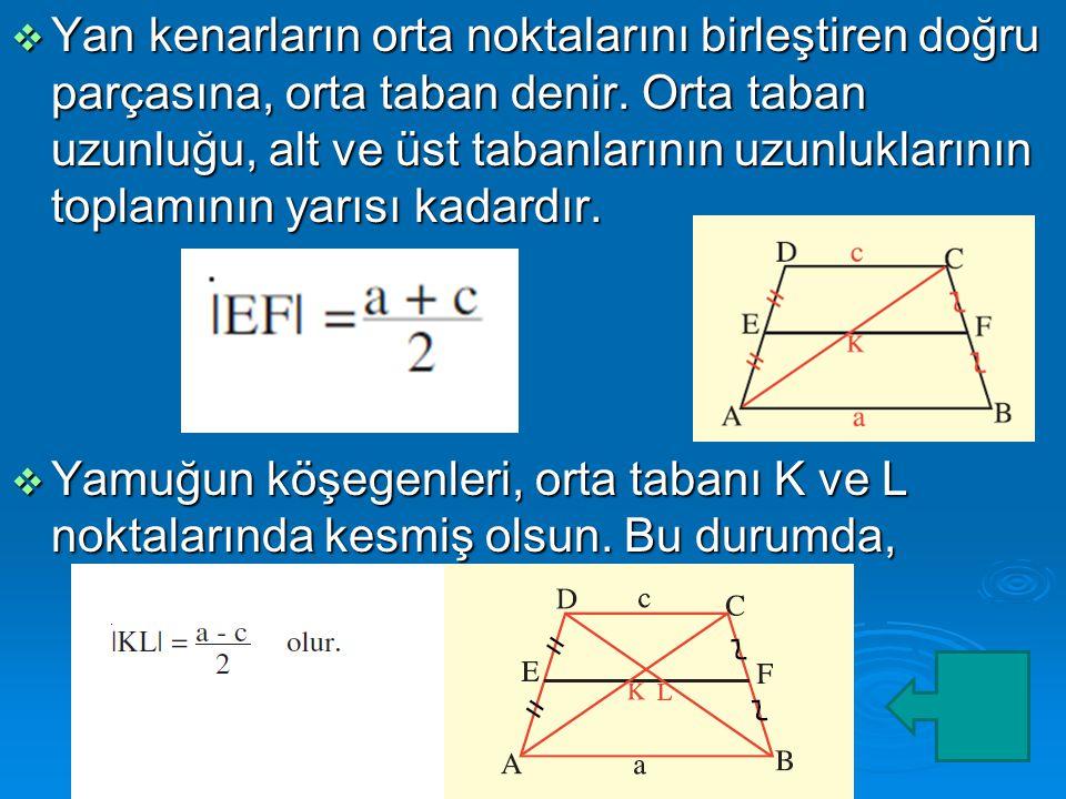  Yan kenarların orta noktalarını birleştiren doğru parçasına, orta taban denir.
