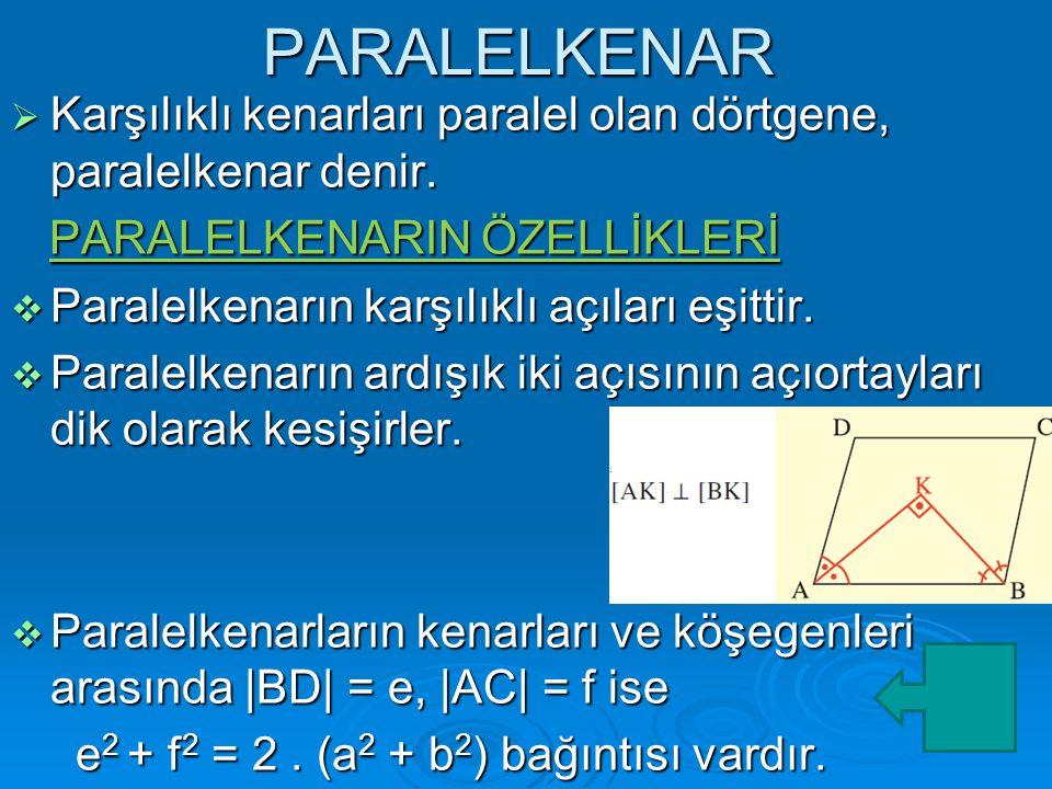 PARALELKENAR  Karşılıklı kenarları paralel olan dörtgene, paralelkenar denir.