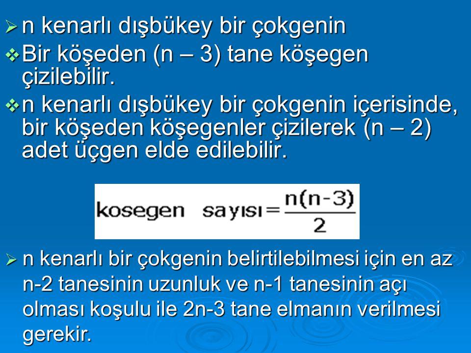  Kenar uzunluğu a, köşegenleri e ve f olan eşkenar dörtgende e 2 + f 2 = 4.a 2 bağıntısı vardır.