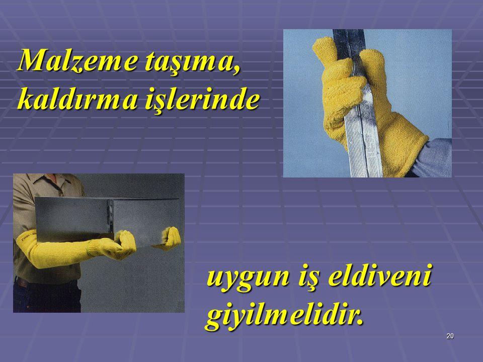 20 Malzeme taşıma, kaldırma işlerinde uygun iş eldiveni giyilmelidir.