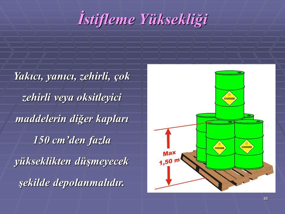 48 Yakıcı, yanıcı, zehirli, çok zehirli veya oksitleyici maddelerin diğer kapları 150 cm'den fazla yükseklikten düşmeyecek şekilde depolanmalıdır. İst