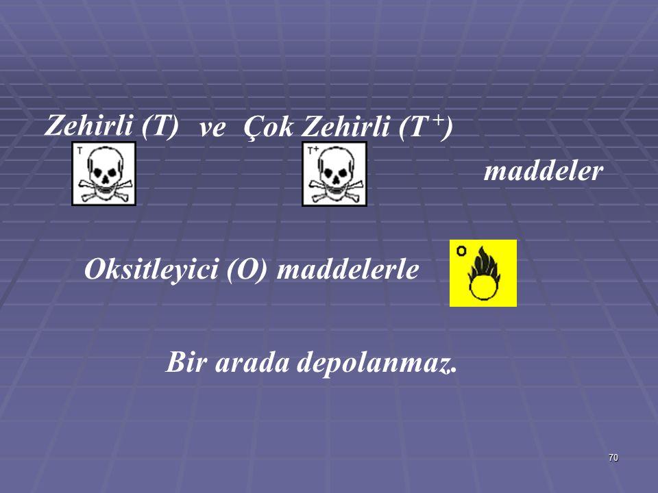 70 Zehirli (T) Çok Zehirli (T + )ve maddeler Oksitleyici (O) maddelerle Bir arada depolanmaz.