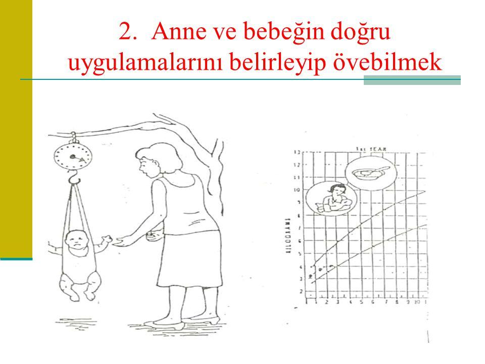 2. Anne ve bebeğin doğru uygulamalarını belirleyip övebilmek