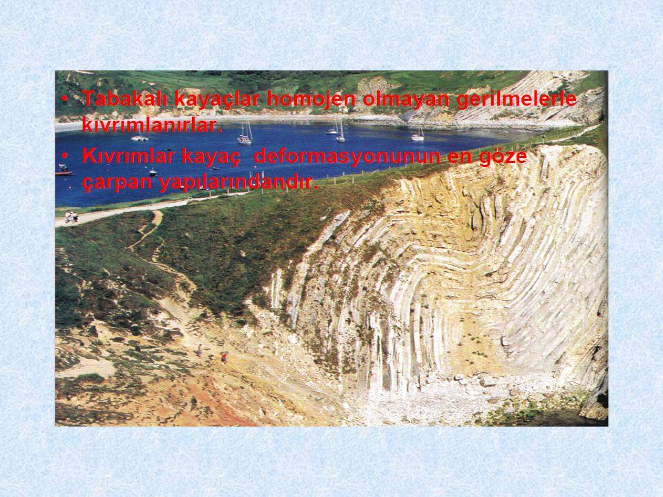 Kıvrım Tabakalı kayaçların tektonik kuvvetlerin etkisiyle kazandıkları dalga şeklindeki deformasyonlara kıvrım, meydana gelen olayada kıvrımlanma denir.
