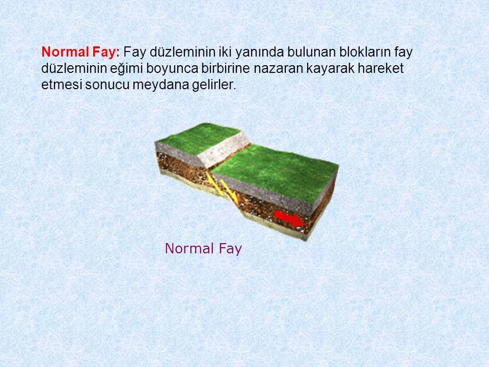Normal Fay Normal Fay: Fay düzleminin iki yanında bulunan blokların fay düzleminin eğimi boyunca birbirine nazaran kayarak hareket etmesi sonucu meydana gelirler.