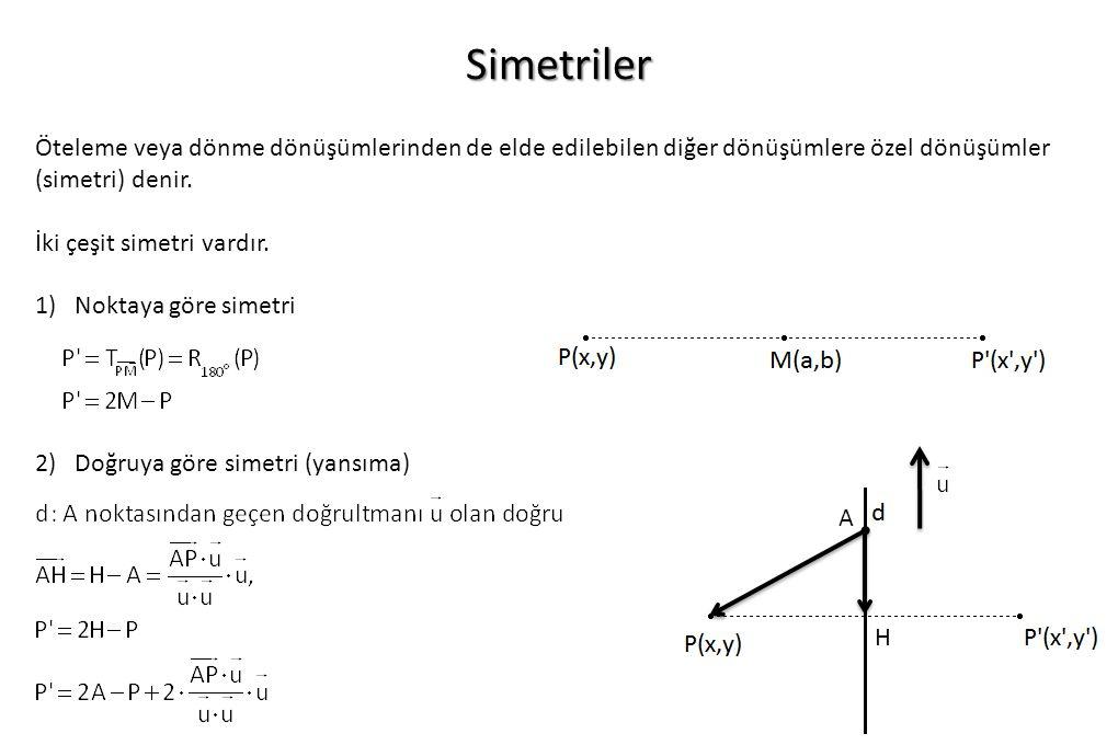 Simetriler Öteleme veya dönme dönüşümlerinden de elde edilebilen diğer dönüşümlere özel dönüşümler (simetri) denir. İki çeşit simetri vardır. 1)Noktay