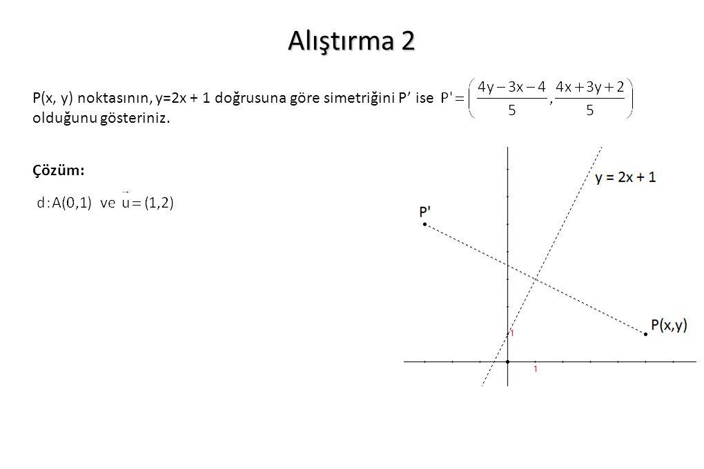 Alıştırma 2 P(x, y) noktasının, y=2x + 1 doğrusuna göre simetriğini P' ise olduğunu gösteriniz. Çözüm: