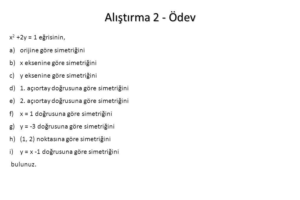 Alıştırma 2 - Ödev x 2 +2y = 1 eğrisinin, a)orijine göre simetriğini b)x eksenine göre simetriğini c)y eksenine göre simetriğini d)1. açıortay doğrusu