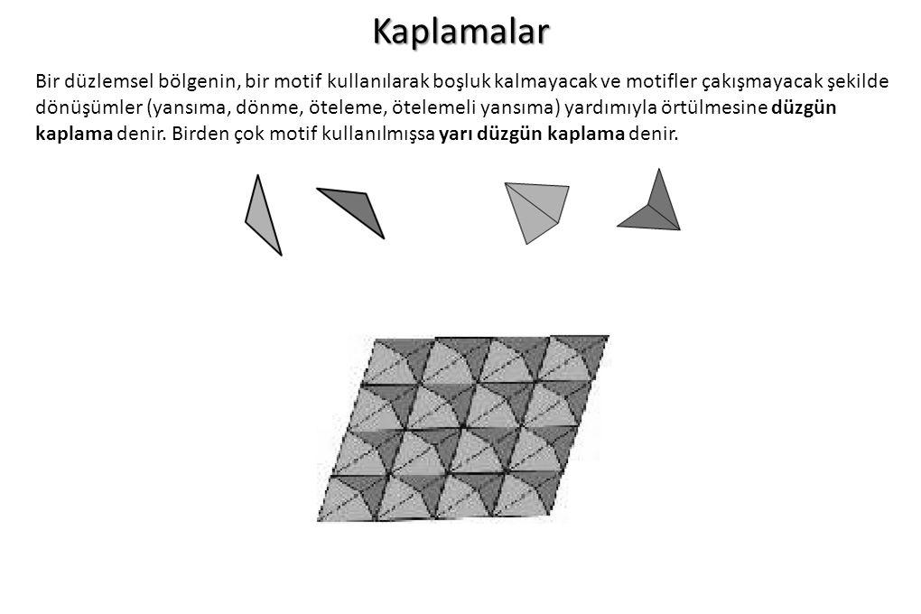 Kaplamalar Bir düzlemsel bölgenin, bir motif kullanılarak boşluk kalmayacak ve motifler çakışmayacak şekilde dönüşümler (yansıma, dönme, öteleme, ötel