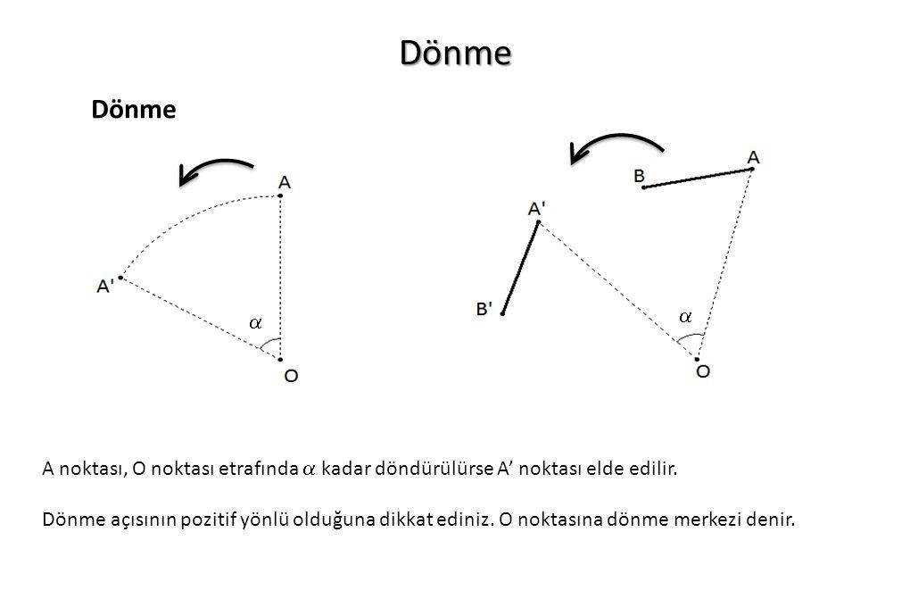 Dönme Dönme  A noktası, O noktası etrafında  kadar döndürülürse A' noktası elde edilir. Dönme açısının pozitif yönlü olduğuna dikkat ediniz. O nokta