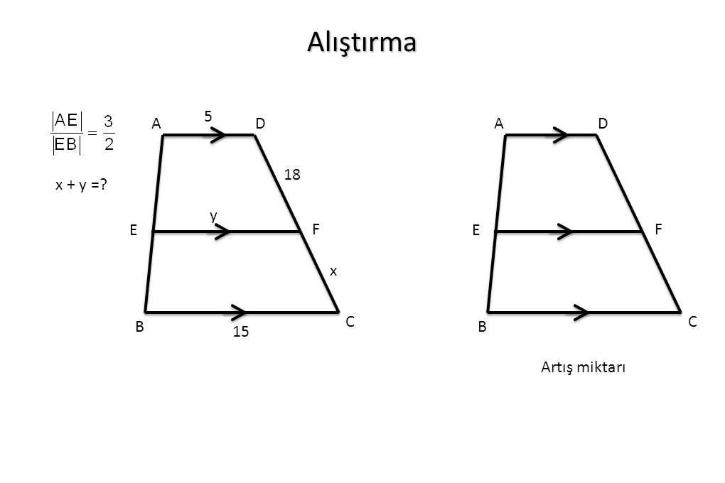 Alıştırma x + y =? A B C D F E 18 x 5 y 15 A B C D F E Artış miktarı