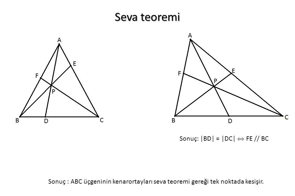 Seva teoremi Sonuç : ABC üçgeninin kenarortayları seva teoremi gereği tek noktada kesişir. Sonuç: |BD| = |DC|  FE // BC