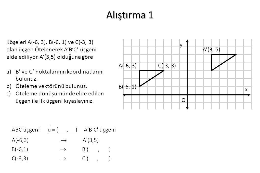 Alıştırma 1 O x y B(-6, 1) A(-6, 3)C(-3, 3) A'(3, 5) Köşeleri A(-6, 3), B(-6, 1) ve C(-3, 3) olan üçgen Ötelenerek A'B'C' üçgeni elde ediliyor. A'(3,5