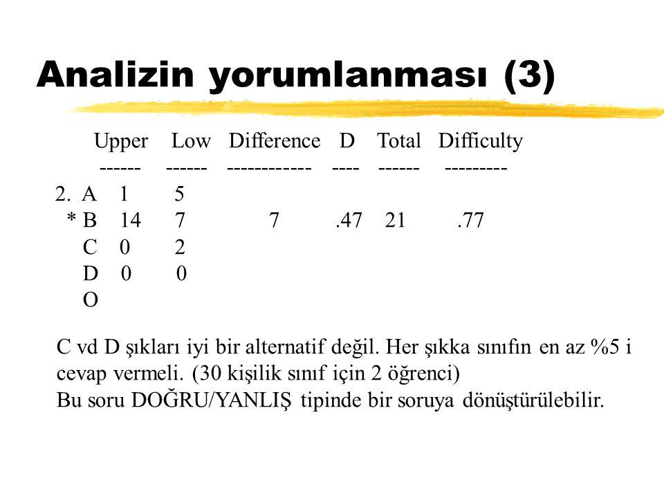 Analizin yorumlanması (3) Upper Low Difference D Total Difficulty ------ ------ ------------ ---- ------ --------- 2. A 1 5 * B 14 7 7.47 21.77 C 0 2