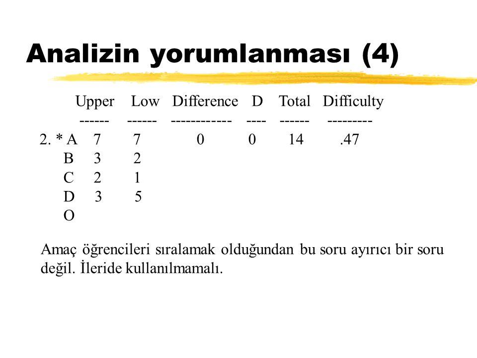 Analizin yorumlanması (4) Upper Low Difference D Total Difficulty ------ ------ ------------ ---- ------ --------- 2. * A 7 7 0 0 14.47 B 3 2 C 2 1 D