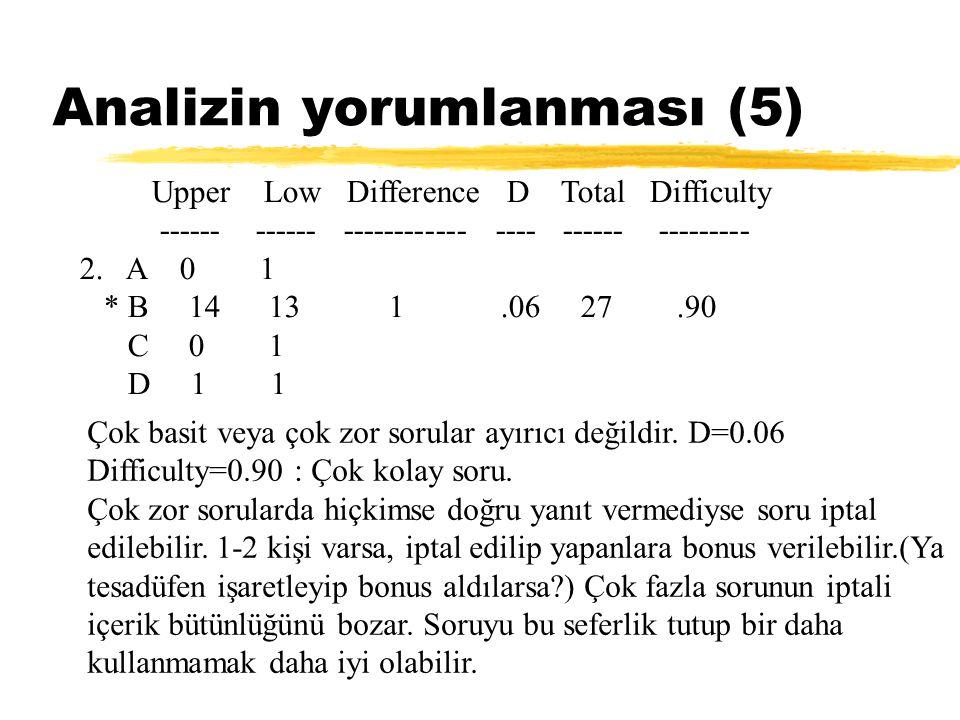 Analizin yorumlanması (5) Upper Low Difference D Total Difficulty ------ ------ ------------ ---- ------ --------- 2. A 0 1 * B 14 13 1.06 27.90 C 0 1