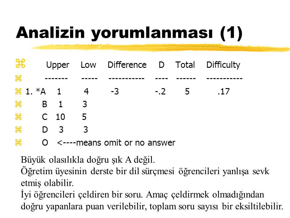 Analizin yorumlanması (1) z Upper Low Difference D Total Difficulty z ------- ----- ----------- ---- ------ ----------- z1. *A 1 4 -3 -.2 5.17 z B 1 3