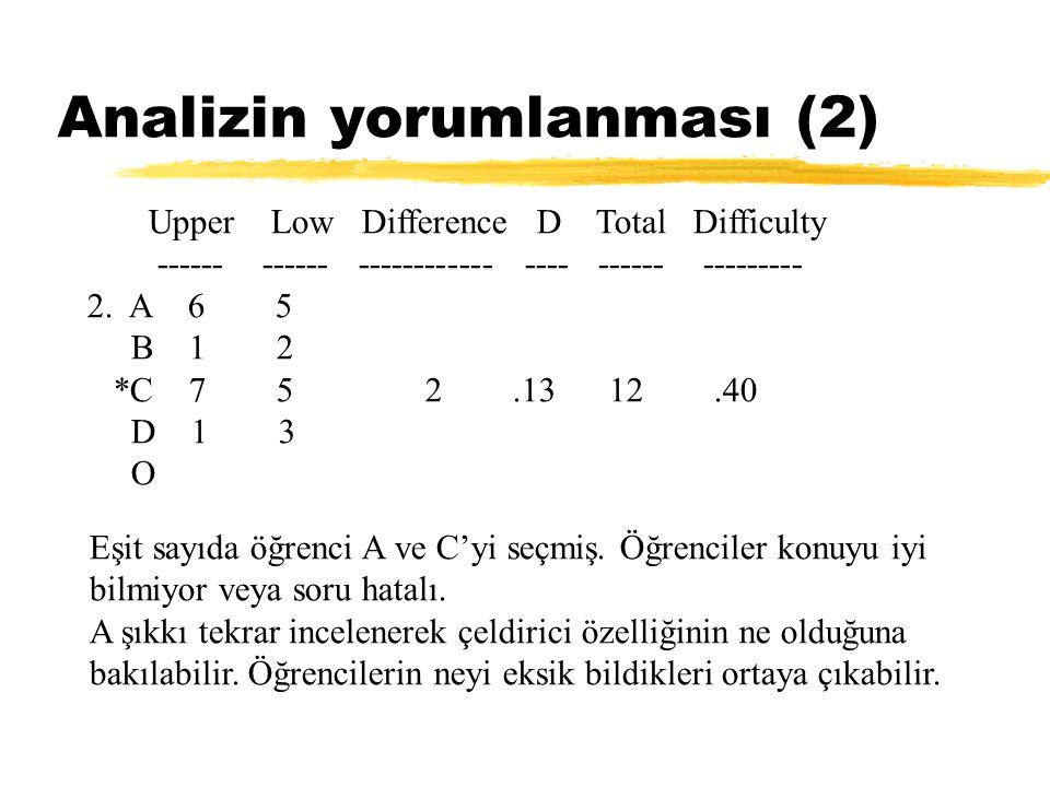 Analizin yorumlanması (2) Upper Low Difference D Total Difficulty ------ ------ ------------ ---- ------ --------- 2. A 6 5 B 1 2 *C 7 5 2.13 12.40 D