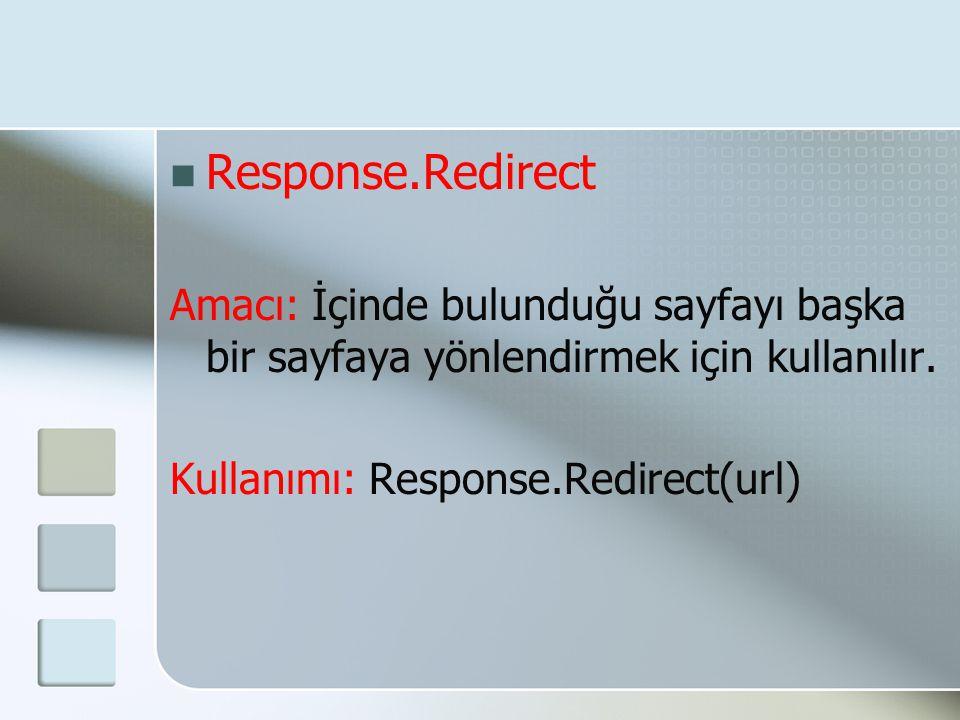 Response.Redirect Amacı: İçinde bulunduğu sayfayı başka bir sayfaya yönlendirmek için kullanılır. Kullanımı: Response.Redirect(url)