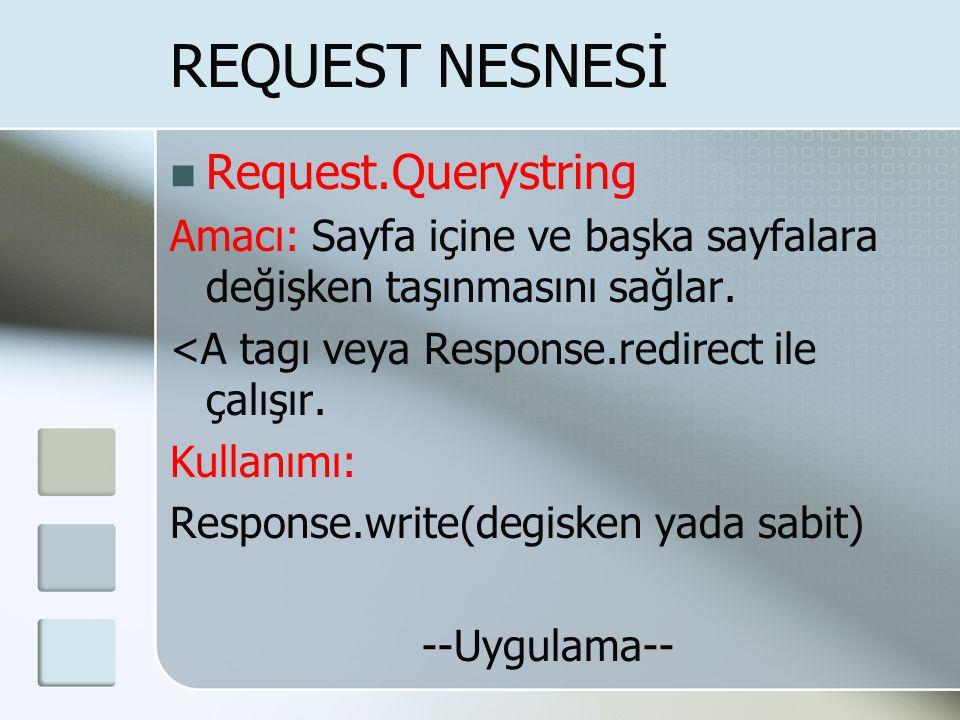  Request.Querystring Amacı: Sayfa içine ve başka sayfalara değişken taşınmasını sağlar. <A tagı veya Response.redirect ile çalışır. Kullanımı: Respon