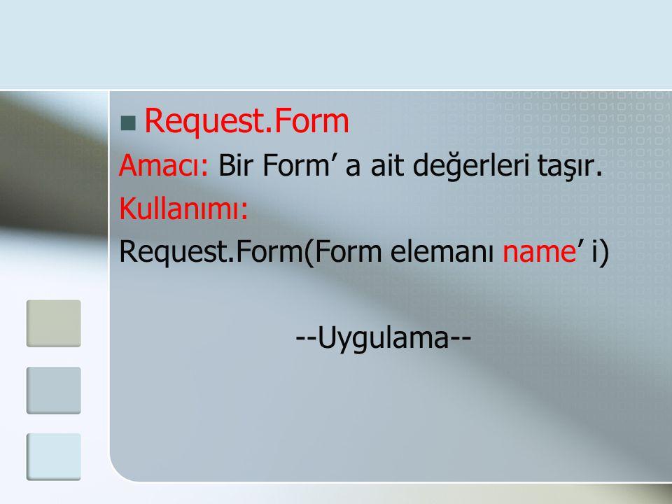  Request.Form Amacı: Bir Form' a ait değerleri taşır. Kullanımı: Request.Form(Form elemanı name' i) --Uygulama--