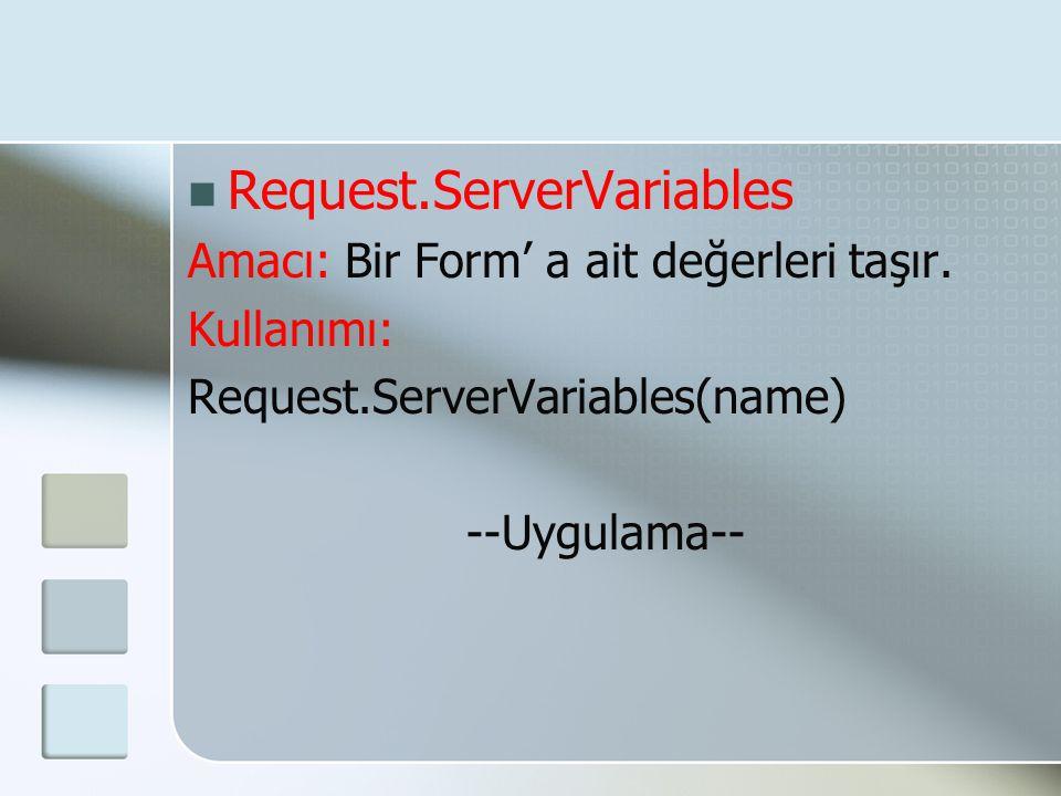  Request.ServerVariables Amacı: Bir Form' a ait değerleri taşır. Kullanımı: Request.ServerVariables(name) --Uygulama--