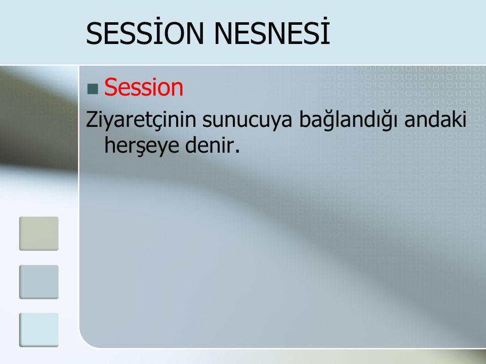  Session Ziyaretçinin sunucuya bağlandığı andaki herşeye denir. SESSİON NESNESİ