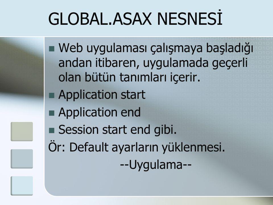  Web uygulaması çalışmaya başladığı andan itibaren, uygulamada geçerli olan bütün tanımları içerir.  Application start  Application end  Session s
