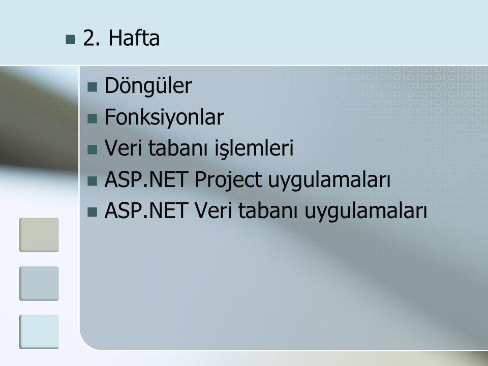  Döngüler  Fonksiyonlar  Veri tabanı işlemleri  ASP.NET Project uygulamaları  ASP.NET Veri tabanı uygulamaları  2. Hafta