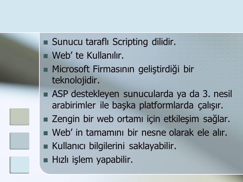  Sunucu taraflı Scripting dilidir.  Web' te Kullanılır.  Microsoft Firmasının geliştirdiği bir teknolojidir.  ASP destekleyen sunucularda ya da 3.