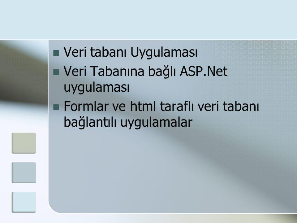  Veri tabanı Uygulaması  Veri Tabanına bağlı ASP.Net uygulaması  Formlar ve html taraflı veri tabanı bağlantılı uygulamalar