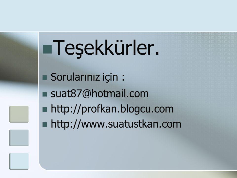  Teşekkürler.  Sorularınız için :  suat87@hotmail.com  http://profkan.blogcu.com  http://www.suatustkan.com