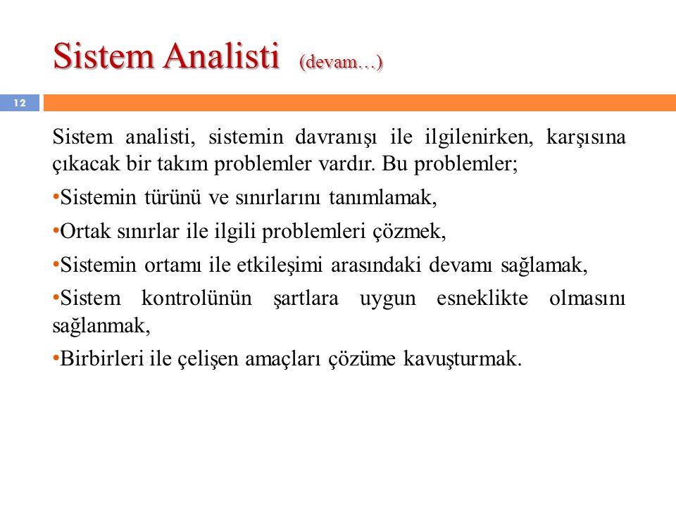 12 Sistem analisti, sistemin davranışı ile ilgilenirken, karşısına çıkacak bir takım problemler vardır. Bu problemler; • Sistemin türünü ve sınırların