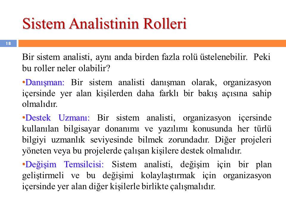 Sistem Analistinin Rolleri Bir sistem analisti, aynı anda birden fazla rolü üstelenebilir. Peki bu roller neler olabilir? • Danışman: • Danışman: Bir