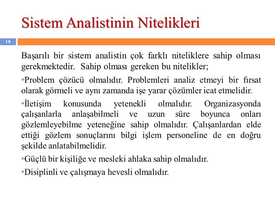 Sistem Analistinin Nitelikleri Başarılı bir sistem analistin çok farklı niteliklere sahip olması gerekmektedir. Sahip olması gereken bu nitelikler; •