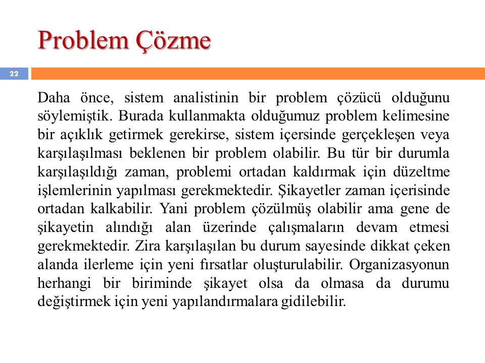 Problem Çözme Daha önce, sistem analistinin bir problem çözücü olduğunu söylemiştik. Burada kullanmakta olduğumuz problem kelimesine bir açıklık getir