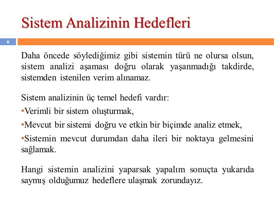 7 Sistem analizinin birinci adımı, sistemin incelenmesidir.