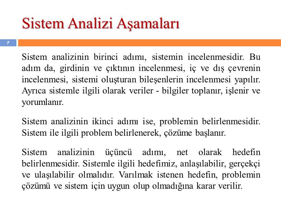 7 Sistem analizinin birinci adımı, sistemin incelenmesidir. Bu adım da, girdinin ve çıktının incelenmesi, iç ve dış çevrenin incelenmesi, sistemi oluş